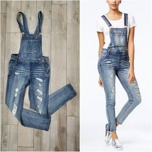 Dollhouse skinny distressed overalls, (jrs 7)